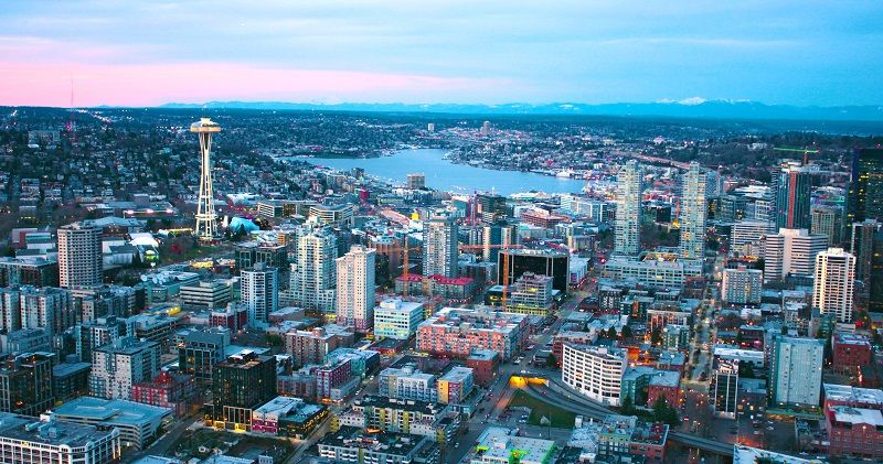Seattle-Panoramic-South-Lake-Union-Buildings-Under-Construction-Center-Growing-City-Sunset-Red-Clouds-Aerial-Looking-North-cm