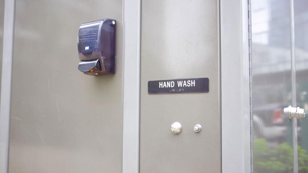 Loo hand wash sign