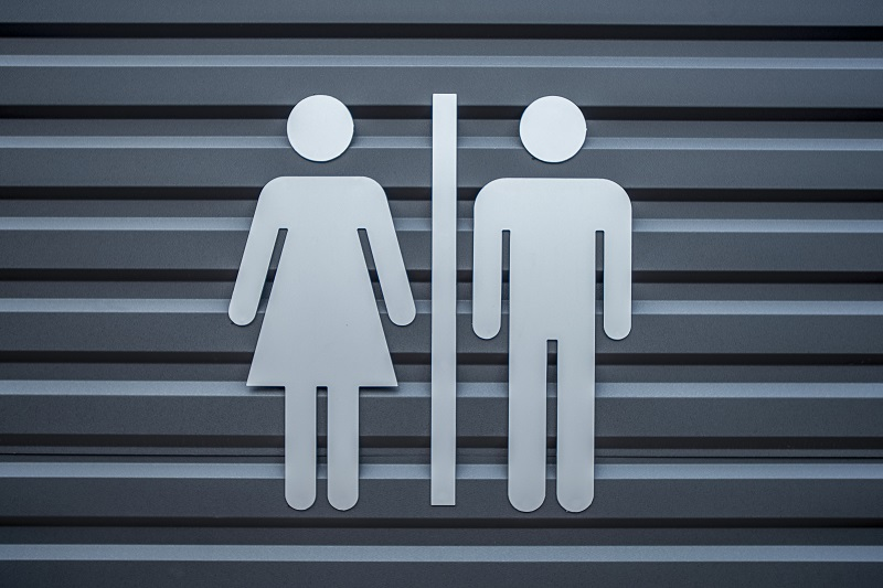 Man & Woman restroom sign, WC directional sign,Toilet sign, - image