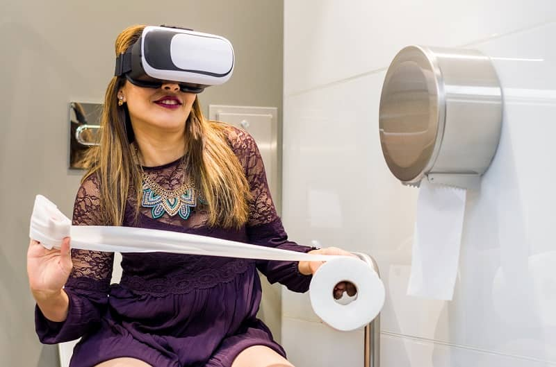 People Using Virtual Reality headset toilet vr-cm